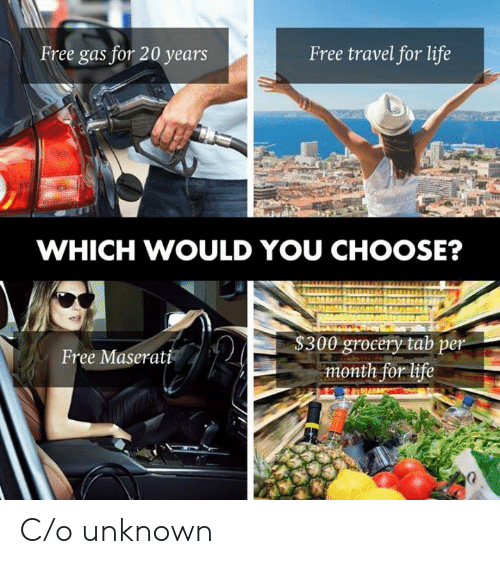 Life, Free, and Travel: Free gas for 20 years  Free travel for life  WHICH WOULD YOU CHOOSE?  $300 grocery tab per  month for life  Free Maserati C/o unknown