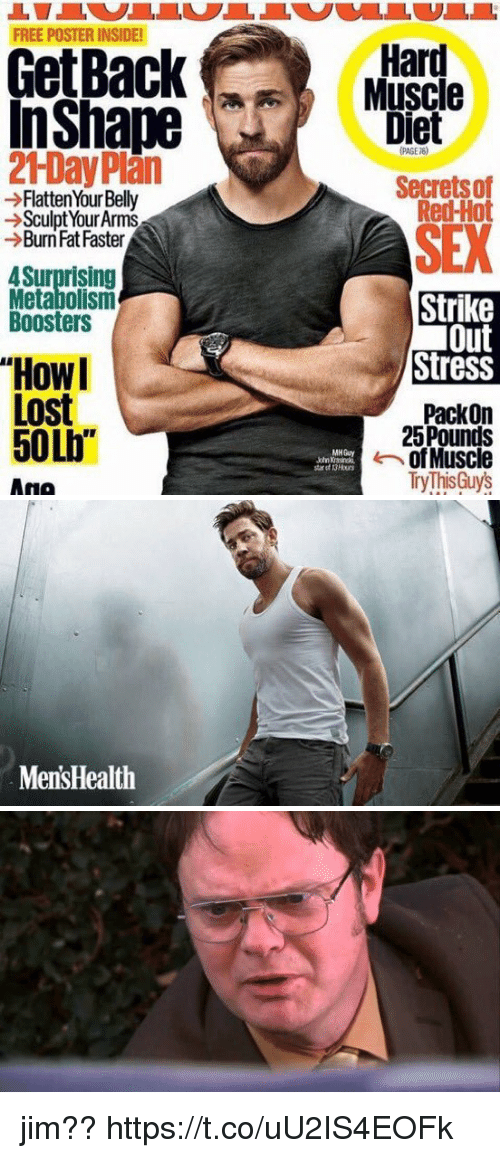 """Sex, Lost, and Free: FREE POSTER INSIDE!  GetBack  In Shape  21Day Plan  Flatten Your Belly  Sculpt YourArms  Burn Fat Faster  4 Surprising  Metabolismn  Boosters  """"Howl  Lost  50Lb""""  Ana  Hard  Muscle  Diet  Secrets of  Red-Hot  SEX  Strike  Out  StresS  Pack on  25 Pounds  of Muscle  MH Guy  Try This Guys   MensHealth jim?? https://t.co/uU2IS4EOFk"""
