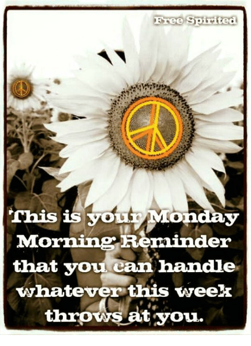 Memes, Free, and Monday: Free Spirited  Chis is youtr Monday  Morning Beminder  that you can handle  whatever this week  throws at you.