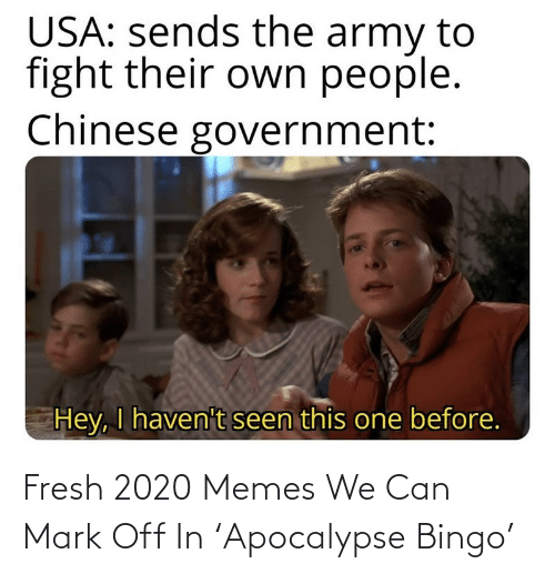 mark: Fresh 2020 Memes We Can Mark Off In 'Apocalypse Bingo'