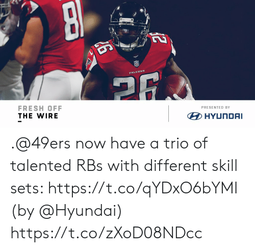 San Francisco 49ers, Fresh, and Memes: FRESH OFF  THE WIRE  PRESENTED BY  HYUNDAI .@49ers now have a trio of talented RBs with different skill sets: https://t.co/qYDxO6bYMI (by @Hyundai) https://t.co/zXoD08NDcc