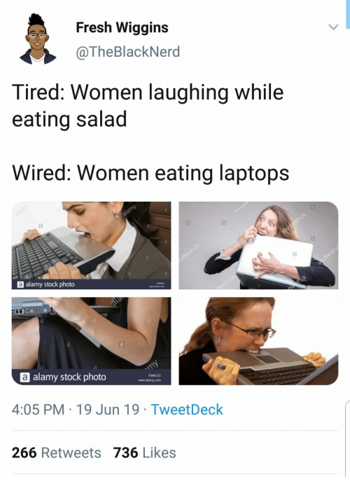 wiggins: Fresh Wiggins  @TheBlackNerd  Tired: Women laughing while  eating salad  Wired: Women eating laptops  alamy  a alamy stock photo  shusterst.ck  utterstck  ala  Shutterst  terst ck  eck  a  alamy stock photo  my  4:05 PM 19 Jun 19 Tweet Deck  FOMCJC  www.alamy.com  266 Retweets 736 Likes