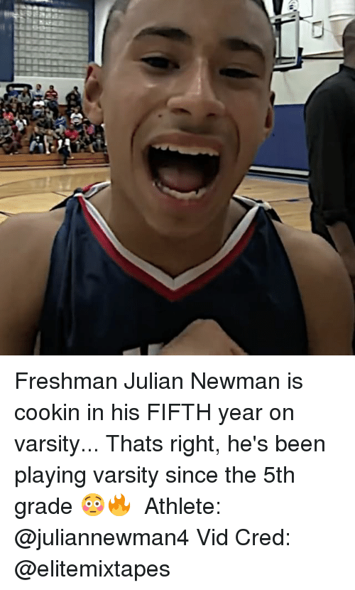 Newman: Freshman Julian Newman is cookin in his FIFTH year on varsity... Thats right, he's been playing varsity since the 5th grade 😳🔥 ⠀ Athlete: @juliannewman4 Vid Cred: @elitemixtapes