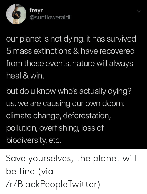 Blackpeopletwitter, Nature, and Change: freyr  @sunfloweraidil  our planet is not dying. it has survived  5 mass extinctions & have recovered  from those events. nature will always  heal & win.  but do u know who's actually dying?  us. we are causing our own doom:  climate change, deforestation,  pollution, overfishing, loss of  biodiversity, etc. Save yourselves, the planet will be fine (via /r/BlackPeopleTwitter)