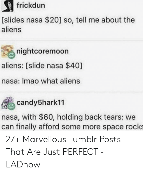 so tell me: frickdun  [slides nasa $20] so, tell me about the  aliens  nightcoremoon  aliens: [slide nasa $40]  nasa: Imao what aliens  candy5hark11  nasa, with $60, holding back tears: we  can finally afford some more space rocks 27+ Marvellous Tumblr Posts That Are Just PERFECT - LADnow
