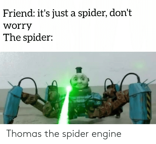 Its Just A: Friend: it's just a spider, don't  worry  The spider: Thomas the spider engine