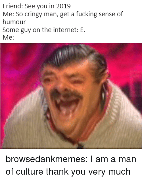 Cringy: Friend: See you in 2019  Me: So cringy man, get a fucking sense of  humour  Some guy on the internet: E.  Me: browsedankmemes:  I am a man of culture thank you very much