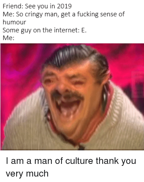 Cringy: Friend: See you in 2019  Me: So cringy man, get a fucking sense of  humour  Some guy on the internet: E.  Me: I am a man of culture thank you very much