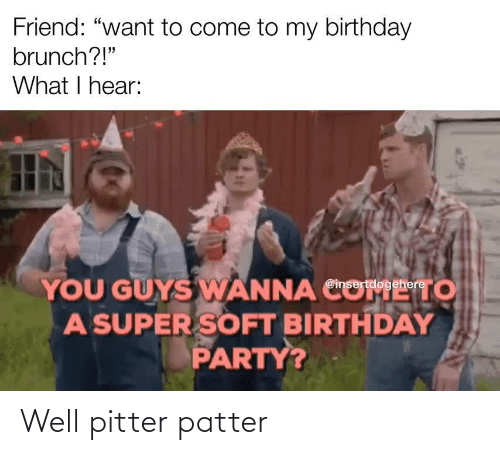 "want: Friend: ""want to come to my birthday  brunch?!""  What I hear:  YOU GUYS WANNA CO  A SUPER SOFT BIRTHDAY  PARTY?  то  @insertdogehere Well pitter patter"
