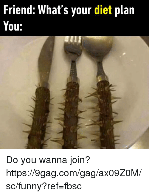 9gag, Dank, and Dieting: Friend: What's your diet plan  You: Do you wanna join?  https://9gag.com/gag/ax09Z0M/sc/funny?ref=fbsc