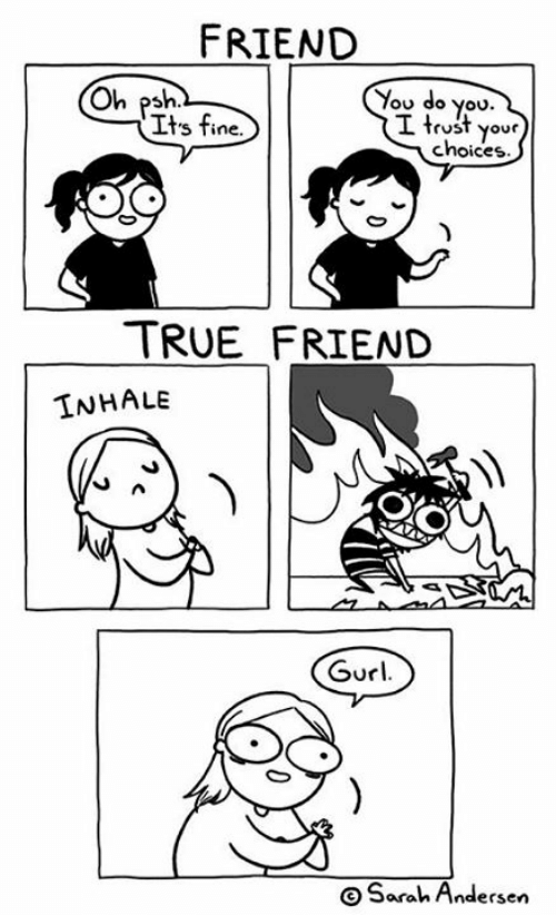 Memes, True, and 🤖: FRIEND  You do you.  I trust your  choices  Oh psh  Its fine.  TRUE FRIEND  INHALE  Gurl  OSarah Andersen