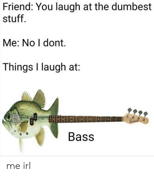 Stuff, Irl, and Me IRL: Friend: You laugh at the dumbest  stuff  Me: No I dont.  Things I laugh at:  Bass me irl