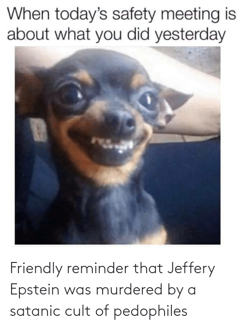 Friendly: Friendly reminder that Jeffery Epstein was murdered by a satanic cult of pedophiles