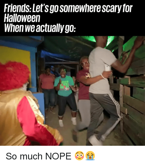 Dank, Friends, and Halloween: Friends:Let'sgosomewhere scary for  Halloween  When weactually go: So much NOPE 😳😭