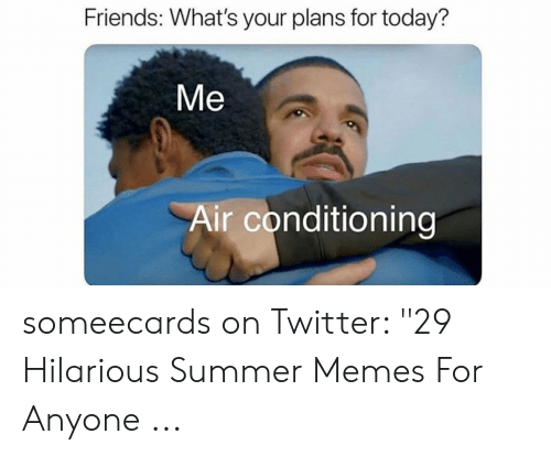 """Summer Memes 2018: Friends: What's your plans for today?  Me  Air conditioning someecards on Twitter: """"29 Hilarious Summer Memes For Anyone ..."""