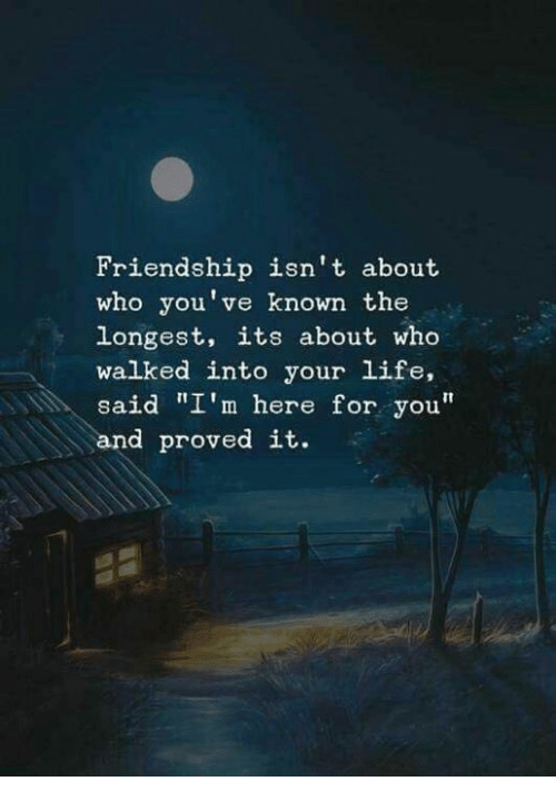"""Life, Friendship, and Who: Friendship isn't about  who you've known the  longest, its about who  walked into your life,  said """"I'm here for you""""  and proved it."""