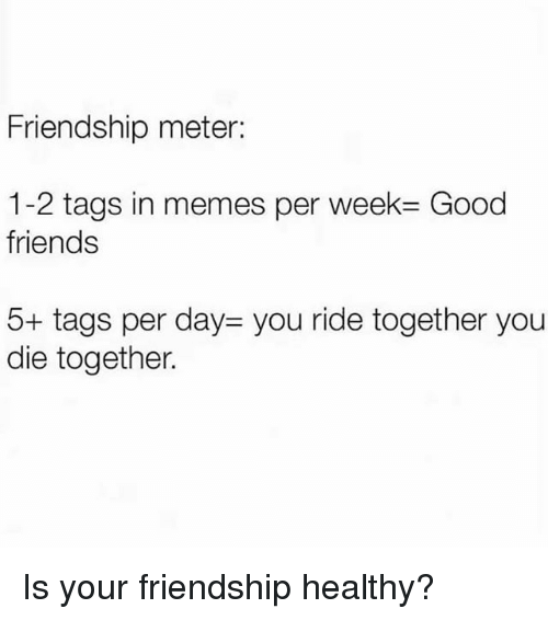 Friends, Memes, and Good: Friendship meter:  1-2 tags in memes per week= Good  friends  5+ tags per day- you ride together you  die together. Is your friendship healthy?