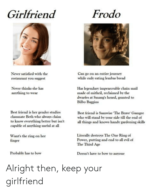 useful: Frodo  Girlfriend  Never satisfied with the  Can go on an entire journey  while only eating lembas bread  restaurant you suggest  Never thinks she has  Has legendary impearceable chain mail  made of mithril, reclaimed by the  dwarfes at Smaug's hoard, granted to  Bilbo Baggins  anything to wear  Best friend is her gender studies  Best friend is Samwise The Brave' Gamgee  who will stand by your side till the end of  all things and knows handy gardening skills  classmate Beth who always claim  to know everything better but isn't  capable of anything useful at all  Literally destroys The One Ring of  Power, putting and end to all evil of  The Third Age  Want's the ring on her  finger  Doesn't have to bow to anyone  Probably has to bow Alright then, keep your girlfriend