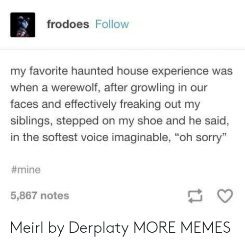 """freaking out: frodoes Follow  my favorite haunted house experience was  when a werewolf, after growling in our  faces and effectively freaking out my  siblings, stepped on my shoe and he said,  in the softest voice imaginable, """"oh sorry""""  #mine  5,867 notes Meirl by Derplaty MORE MEMES"""