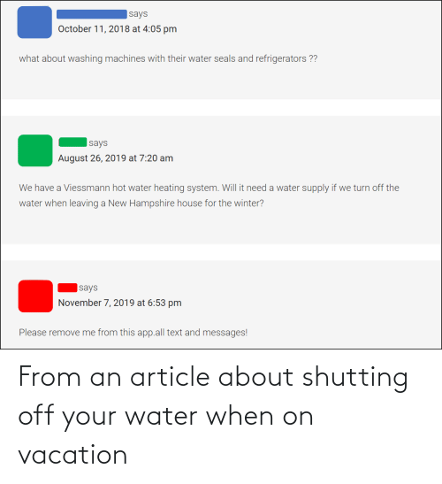On Vacation: From an article about shutting off your water when on vacation