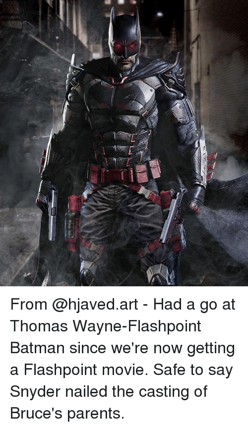 thomas wayne: From @hjaved.art - Had a go at Thomas Wayne-Flashpoint Batman since we're now getting a Flashpoint movie. Safe to say Snyder nailed the casting of Bruce's parents.