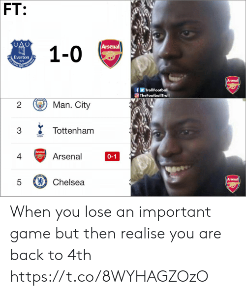 tottenham: FT:  Arsenal  Everton  IS NIS  0  f Trol!Football  TheFootballTroll  2  Man. City  Tottenham  4亏Arsenal  0-1  5 Chelsea When you lose an important game but then realise you are back to 4th https://t.co/8WYHAGZOzO