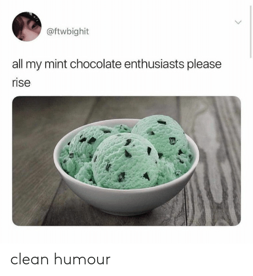 Chocolate, Mint, and All: @ftwbighit  all my mint chocolate enthusiasts please  rise clean humour