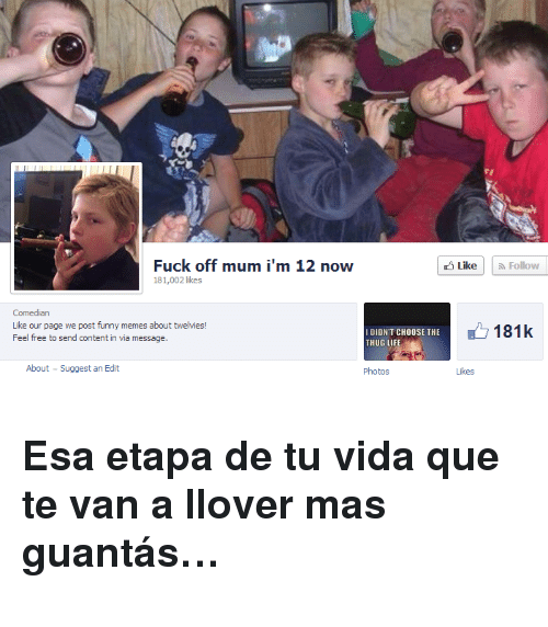 Funny Memes About: Fuck off mum i'm 12 now  181,002 likes  LikeFollow  Comedian  Like our page we post funny memes about twelvies  Feel free to send content in via message.  IDIDN'T CHOOSE THE  THUG LIF  181k  About  Suggest an Edit  Photos  Likes <h3>Esa etapa de tu vida que te van a llover mas guantás&hellip;</h3>