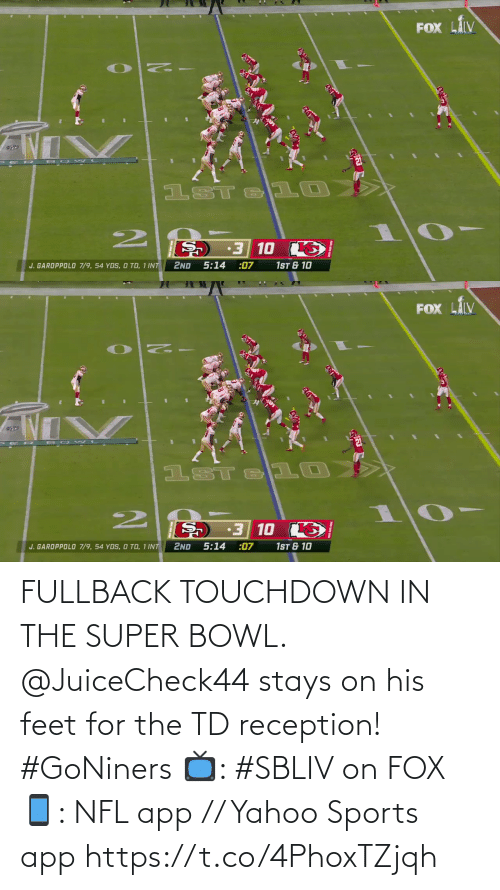 Super Bowl: FULLBACK TOUCHDOWN IN THE SUPER BOWL.  @JuiceCheck44 stays on his feet for the TD reception! #GoNiners  📺: #SBLIV on FOX 📱: NFL app // Yahoo Sports app https://t.co/4PhoxTZjqh