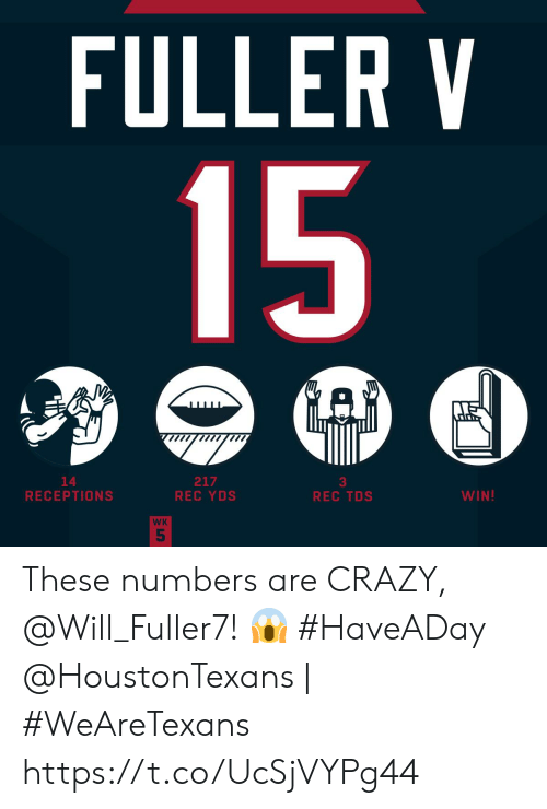 Crazy, Memes, and 🤖: FULLER V  15  GAD  217  REC YDS  14  RECEPTIONS  WIN!  REC TDS  WK  5 These numbers are CRAZY, @Will_Fuller7! 😱 #HaveADay  @HoustonTexans | #WeAreTexans https://t.co/UcSjVYPg44