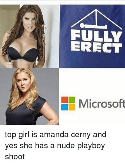 Microsoft, Girl, and Nude: FULLY  ERECT  Microsoft top girl is amanda cerny and yes she has a nude playboy shoot