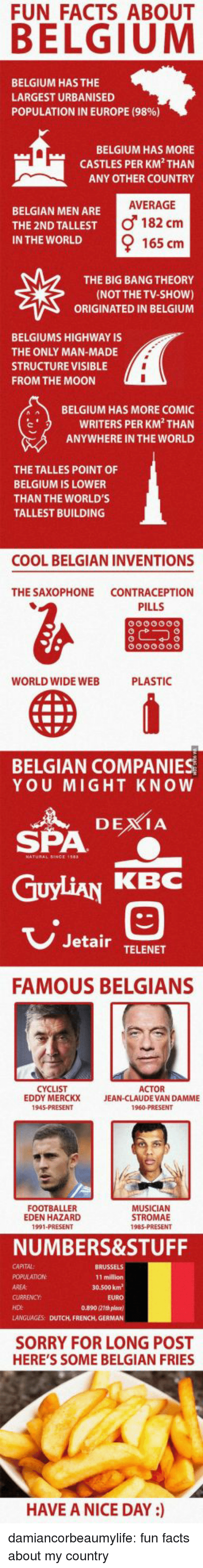 Belgium, Facts, and Jean-Claude Van Damme: FUN FACTS ABOUT  BELGIUM HAS THE  LARGEST URBANISED  POPULATION IN EUROPE (9896)  BELGIUM HAS MORE  CASTLES PER KM THAN  ANY OTHER COUNTRY  AVERAGE  BELGIAN MEN ARE  THE 2ND TALLEST  IN THE WORLD  o 182 cm  165 cm  THE BIG BANG THEORY  (NOT THE TV-sHoW)  ORIGINATED IN BELGIUM  BELGIUMS HIGHWAY IS  THE ONLY MAN-MADE  STRUCTURE VISIBLE  FROM THE MOON  BELGIUM HAS MORE COMIC  WRITERS PER KM THAN  ANYWHERE IN THE WORLD  THE TALLES POINT OF  BELGIUM IS LOWER  THAN THE WORLD'S  TALLEST BUILDING  COOL BELGIAN INVENTIONS  THE SAXOPHONE CONTRACEPTION  PILLS  WORLD WIDE WEB  PLASTIC  BELGIAN COMPANIES  YOU MIGHT KNOW  SPA  GuyLiAN KBC  3  Jetair TELENET  FAMOUS BELGIANS  CYCLIST  EDDY MERCKX  ACTOR  JEAN-CLAUDE VAN DAMME  FOOTBALLER  EDEN HAZARD  1991 PRESENT  MUSICIAN  STROMAE  NUMBERS&STUFF  CAPITAL:  11 million  30.500 kn  AREA:  EURO  0.890 21th plane)  LANGUAGES: DUTCH, FRENCH, GERMAN  HDI  SORRY FOR LONG POST  HERE'S SOME BELGIAN FRIES  HAVE A NICE DAY ) damiancorbeaumylife:  fun facts about my country