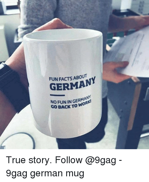 9gag, Facts, and Memes: FUN FACTS ABOUT  GERMANY  NO FUN IN GERMANY  GO BACK TO WORK True story. Follow @9gag - 9gag german mug