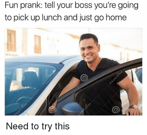 Fun Prank: Fun prank: tell your boss you're going  to pick up lunch and just go home Need to try this