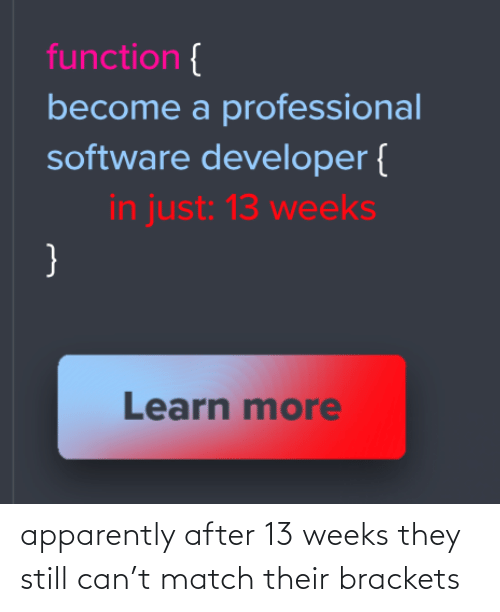 professional: function {  become a professional  software developer {  in just: 13 weeks  }  Learn more apparently after 13 weeks they still can't match their brackets