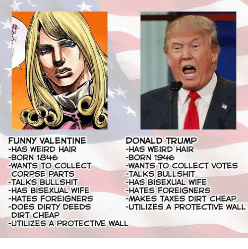 Bisexu: FUNNY VALENTINE  DONALD TRUMP  HAS WEIRD HAIR  HAS WEIRD HAIR  BORN 1846  BORN 1946  -WANTS TO COLLECT  -WANTS TO COLLECT VOTES  CORPSE PARTS  TALKS BULLSHIT  -TALKS BULLSHIT  HAS BISEXUAL WIFE  HAS BISEXUAL WIFE  HATES FOREIGNERS  HATES FOREIGNERS  MAKES TAXES DIRT CHEAP  DOES DIRry DEEDS  UTILIZES A PROTECTIVE WALL  DIRT CHEAP  UTILIZES A PROTECTIVE WALL
