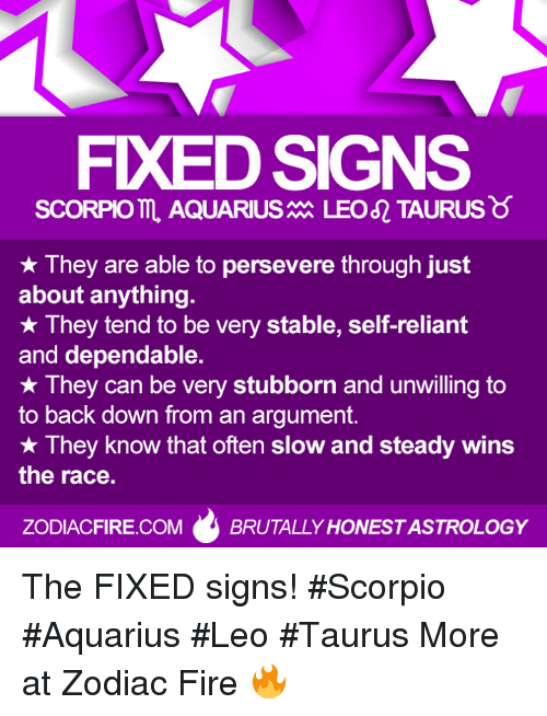 steady-wins-the-race: FXEDSIGNS  SCORPIO AQUARIUS  LEO TAURUS  They are able to persevere through just  about anything.  They tend to be very stable, self-reliant  and dependable.  They can be very stubborn and unwilling to  to back down from an argument.  They know that often slow and steady wins  the race.  ZODIACFIRE.COM  BRUTALLY HONESTASTROLOGY The FIXED signs! #Scorpio #Aquarius #Leo #Taurus  More at Zodiac Fire 🔥