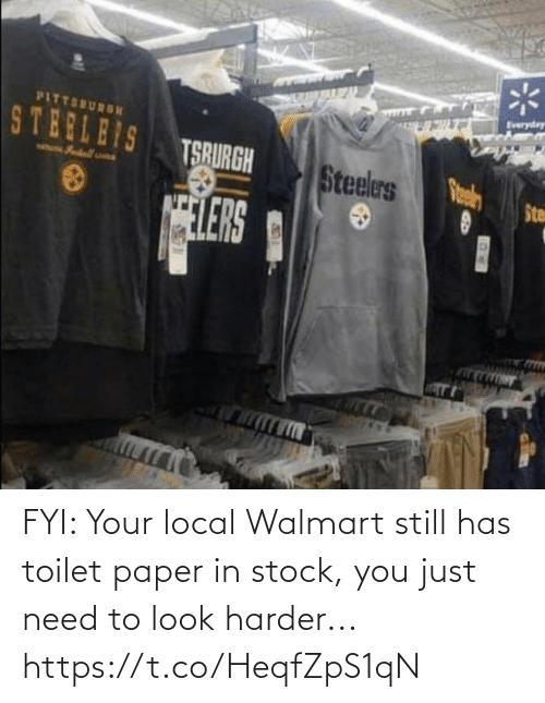 still: FYI: Your local Walmart still has toilet paper in stock, you just need to look harder... https://t.co/HeqfZpS1qN