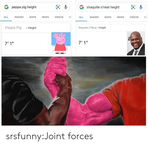 """joint: G shaquille o'neal height  G peppa pig height  IMAGES  ALL  IMAGES  MAPS  NEWS  VIDEOS  VIDEOS  ALL  MAPS  NEWS  S  Shaquille O'Neal/ Height  Peppa Pig  /Height  7' 1""""  7'1"""" srsfunny:Joint forces"""