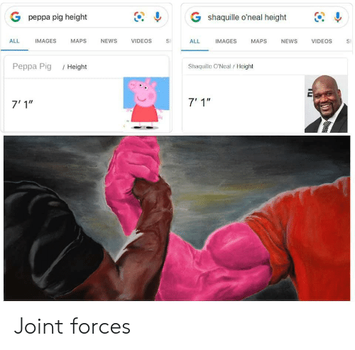 """peppa pig: G shaquille o'neal height  G peppa pig height  IMAGES  ALL  IMAGES  МAPS  NEWS  VIDEOS  ALL  NEWS  VIDEOS  MAPS  S  Shaquille O'Neal/Height  Реppа Pig  /Height  7' 1""""  7'1"""" Joint forces"""