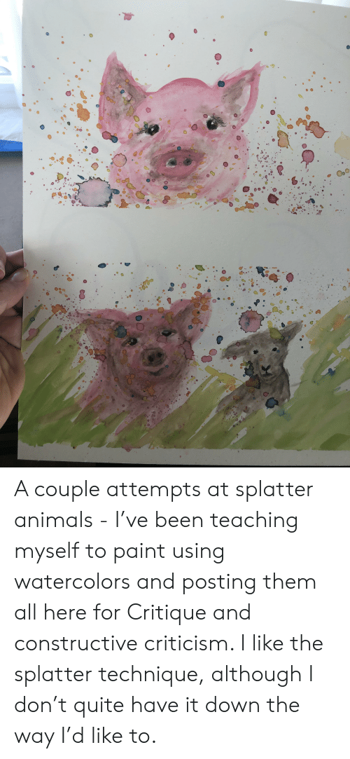 Animals, Paint, and Quite: G09 A couple attempts at splatter animals - I've been teaching myself to paint using watercolors and posting them all here for Critique and constructive criticism. I like the splatter technique, although I don't quite have it down the way I'd like to.