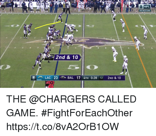 Memes, Chargers, and Game: g5  5048  ONFL  AFC WILD CARD  2nd & 10  LAC 23 ィ? -BAL 17 4TH 0:28 12 2ND & 10 THE @CHARGERS CALLED GAME. #FightForEachOther https://t.co/8vA2OrB1OW