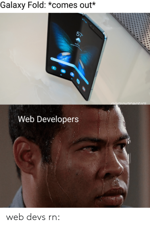 Galaxy, Web, and  Fold: Galaxy Fold: *comes out*  Web Developers web devs rn: