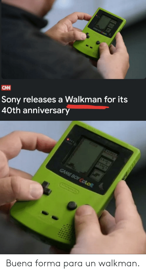 Forma: GAME BOY COLOR  Sony releases a Walkman for its  40th anniversary  CAN  GAME BOY COLOR Buena forma para un walkman.