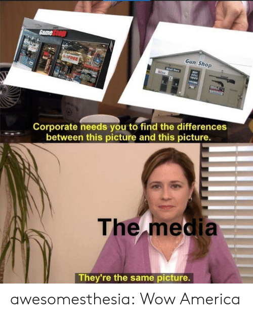 Game Stop: Game Stop  Gun Shop  FREE  Retail Stare  BELL  TRADE  Corporate needs you to find the differences  between this picture and this picture.  The media  They're the same picture. awesomesthesia:  Wow America