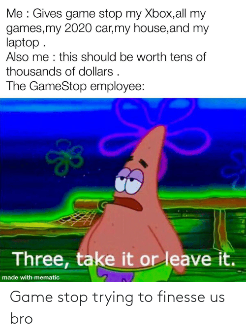 Game Stop: Game stop trying to finesse us bro