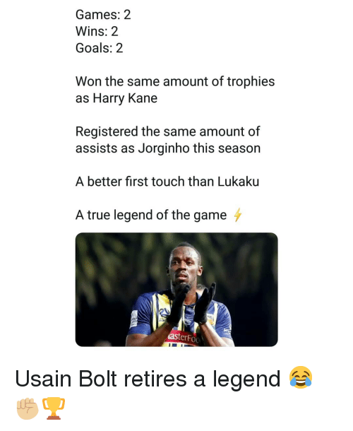 trophies: Games: 2  Wins: 2  Goals: 2  Won the same amount of trophies  as Harry Kane  Registered the same amount of  assists as Jorginho this season  A better first touch than Lukaku  A true legend of the game  asterFoo Usain Bolt retires a legend 😂✊🏼🏆