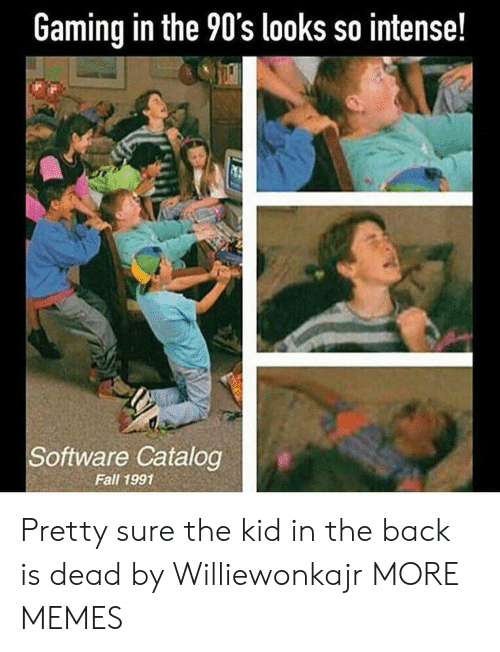 Dank, Fall, and Memes: Gaming in the 90's looks so intense!  Software Catalog  Fall 1991 Pretty sure the kid in the back is dead by Williewonkajr MORE MEMES