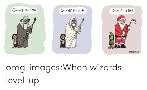 Gandalf, Omg, and Tumblr: Gandalf the Grey  Gandalf the Wkite  Gandalf the Red  itle hie lincs.con omg-images:When wizards level-up