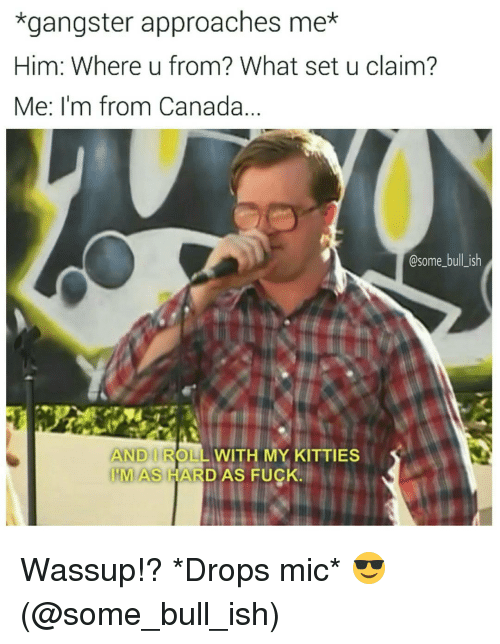 Drop Mic: *gangster approaches mex  Him: Where u from? What set u claim?  Me: I'm from Canada.  @some bull ish  ANID ROLL WITH MY KITTIES  HMAS HAR  AS FUCK. Wassup!? *Drops mic* 😎 (@some_bull_ish)